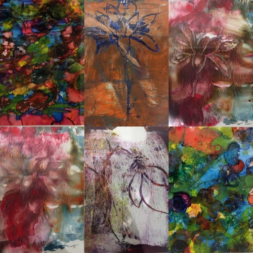 Paintings by Andrea Lamarsaude Fine Art at Dallas Market Center, Dallas - Various acrylic and alcohol ink works.