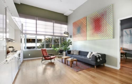Paintings by Palma Blank seen at Private Residence, Queens - diag_yellowredblue_x2