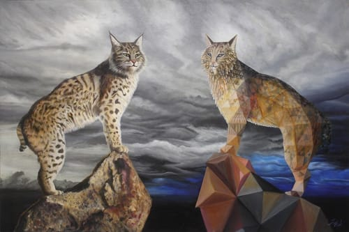 Paintings by Vincent Fink seen at Private Residence - 56-Bobcats Reflect