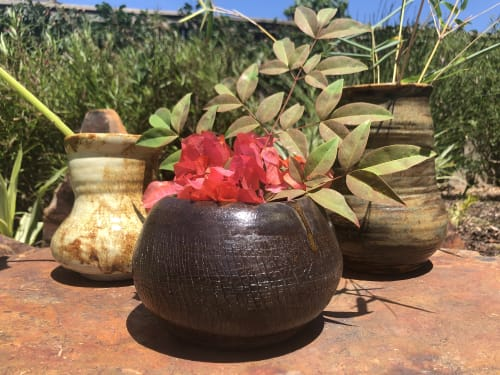 Vases & Vessels by Solana Beach Pottery seen at Private Residence, San Diego - Black Crackle Succulent Pot