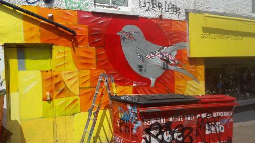 Street Murals by HarpoArt seen at Brighton, Brighton - Jay bird, sunset glass