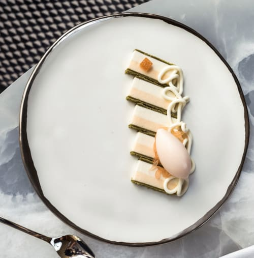 Ceramic Plates by FisheyeCeramics seen at The Pool, New York - White Gold Rimmed Plates