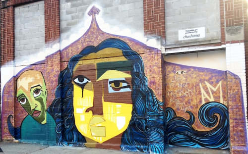 Street Murals by Alice Mizrachi seen at West 126th Street, New York - Life Is Not Promised...Shine Your Light