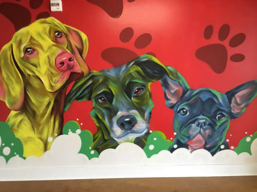 Murals by Eric 'Mobē' Bass seen at The Melrose, Nashville - Dog Spa Mural and Sign