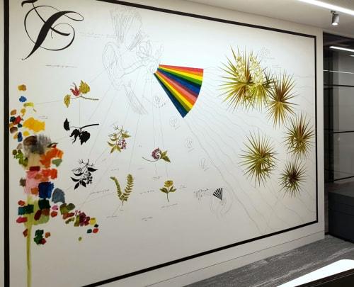 Murals by Sketchbook Murals by Matt Collier seen at Universal Music, London - Mural: 'SYNESTHESIA'