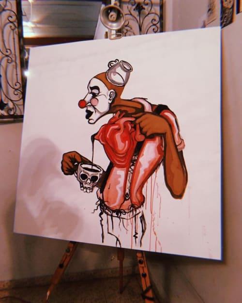 Paintings by Kroniko Arte seen at El Loveshack, Mayagüez - Échale tú corazón