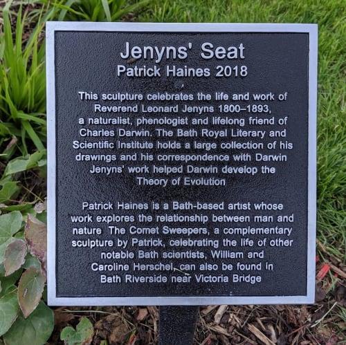 Public Sculptures by Patrick haines sculptor seen at Elizabeth Parade, Bath - Jenyns' Seat