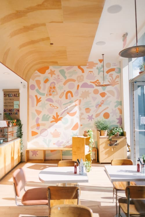 Murals by Lea Carey seen at Gertie, Brooklyn - Matisse-esque