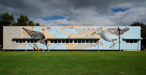 Street Murals by Geoffrey Carran seen at Chelsea Bicentennial Park, Chelsea - Seasonal Migrants