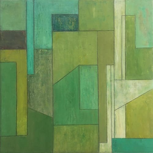 Paintings by stephen cimini seen at Private Residence, New York - Peridot Emerald Turquoise—Geometric Abstract Painting