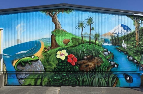 Murals by Paul x Walsh seen at Mayfield Primary School, Auckland - 'Tāne'