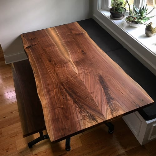 Tables by Urbn Timber seen at Private Residence, Los Angeles - Book-matched Walnut Kitchen Table