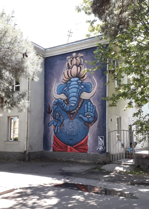 Street Murals by Lion Fleischmann seen at Private Residence, Rustavi - Rustavi Elefant for Festival NIKO Movement