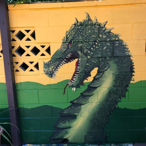 Murals by Josh Scheuerman seen at Duffy's Tavern, Salt Lake City - Dragons