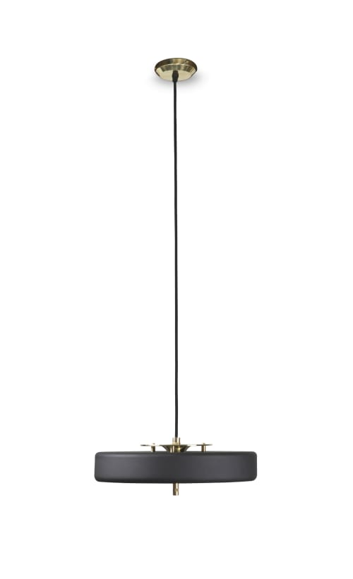 Pendants by Bert Frank seen at The Kennison, Chicago - Revolve Pendant - Brass & Black
