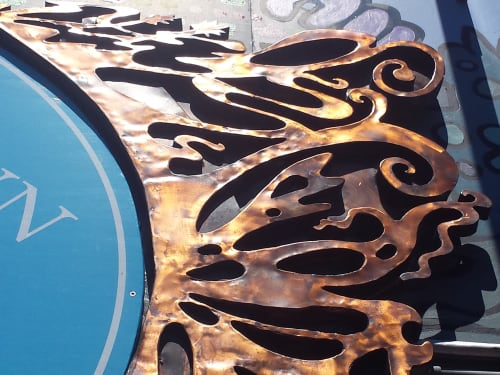Sculptures by Pierre Riche Art seen at Cape Cod - Copper sign frame