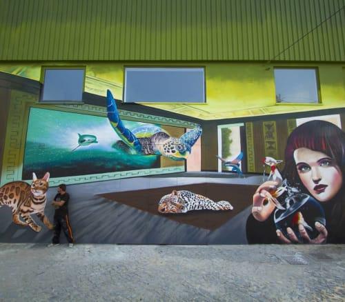 Street Murals by Nomen seen at Ponte de Vilela - The Magic Room
