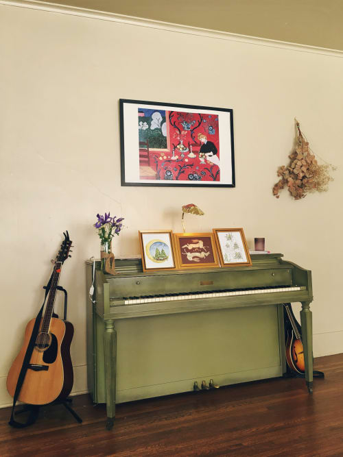 Paintings by Jillian Selene Art seen at Private Residence, Tulsa - Evergreen Moon, Gemini Hare, & Flower Home