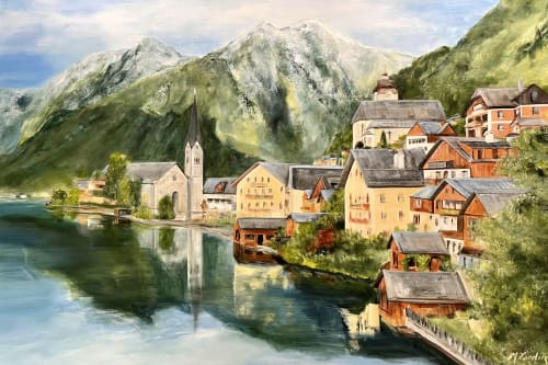 Paintings by Marilyn Landers seen at Private Residence, Monroe - Commissioned Landscape in mixed media small town in Austria.