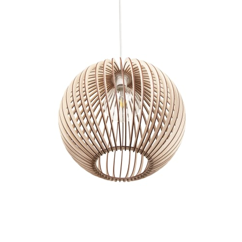 Lamps by ANEKOdesign seen at 6080 Collins Ave, Miami Beach - Wooden ceiling lamps 'Roberto 008' and 'Roberto 012'