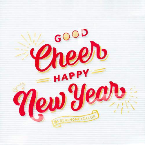 Murals by Marley Soden seen at Local Honey Salon, Greensboro - Good Luck, Good Health, Good Cheer, Happy New Year