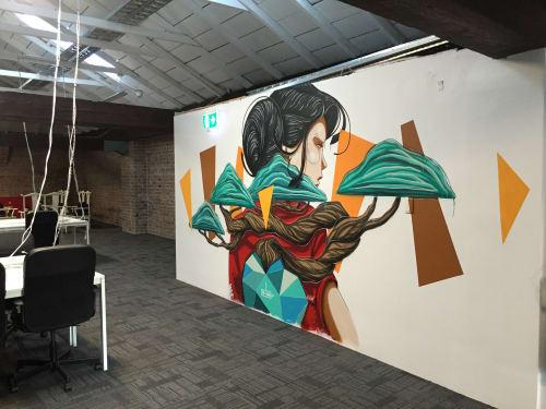 "Murals by M-Lon seen at Haymarket HQ, Haymarket - ""Life Carrier"""