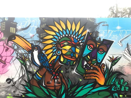 Street Murals by Fábio Panone seen at Miami, Miami - Tribal Mural