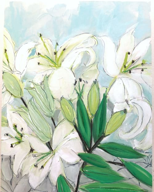 Paintings by Jean Wilson Freeman seen at Private Residence, Greenville - Winter Lilies