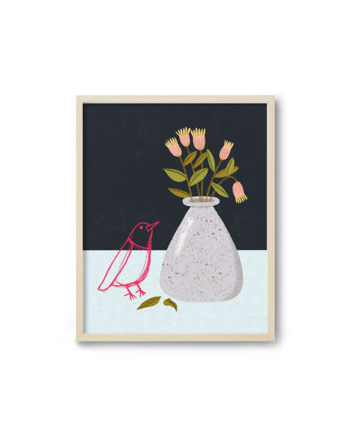 Paintings by Birdsong Prints - Modern Botanical Print with Bird