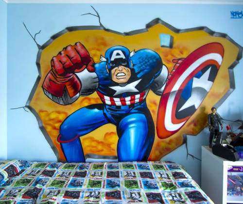 Murals by Nomen seen at Private Residence - Captain America