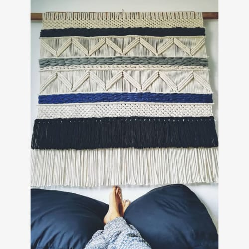 Macrame Wall Hanging by Mikrama seen at Private Residence, Tulum - Blue and gray Tapestries