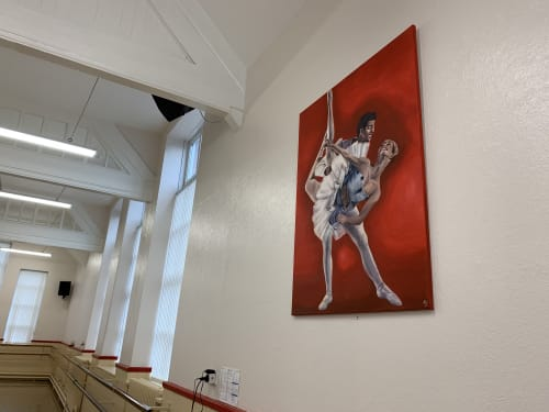 Paintings by Antonia Jameson seen at Tina's Dance Studios, Wigan - 'Pas De Deux in Red'
