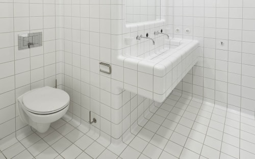 Tiles by DTILE seen at Lensvelt Contract B.V, Amsterdam - Bathroom covered under a blanket of tiles