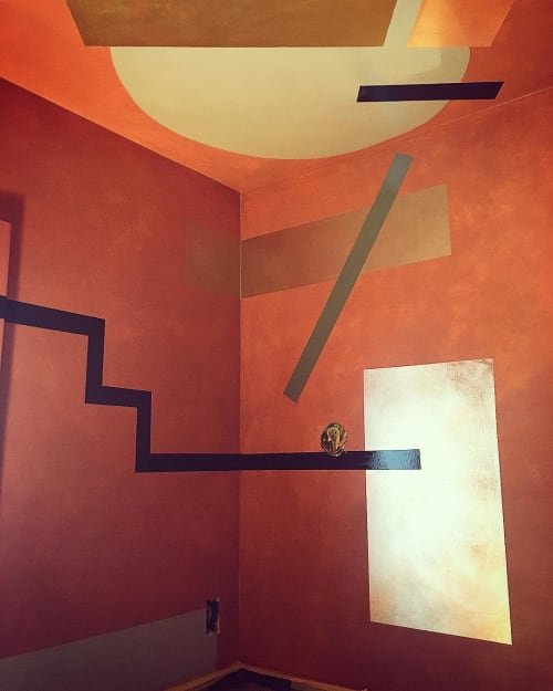 Wall Treatments by Caroline Lizarraga seen at Private Residence, Santa Barbara - Lacquer Copper & Gold Shapes