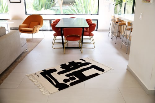 Rugs by BLACK LINE CRAZY | Designed by artist Mary van de Wiel seen at Private Residence, San Miguel de Allende - WHAT A HONEY | AREA RUG