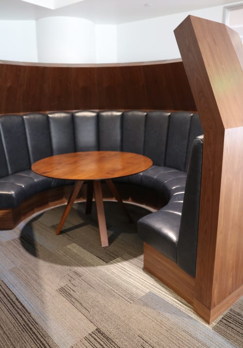 Furniture by Studio KDA seen at Roundhouse Market & Conference Center, San Ramon - Custom Circular Six Feet High Meeting Banquettes