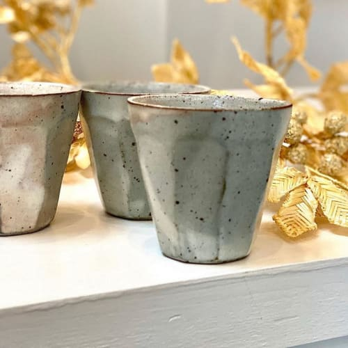 Cups by Marumitsu Poterie seen at Westward Home, Larkspur - Kohiki mentori cup