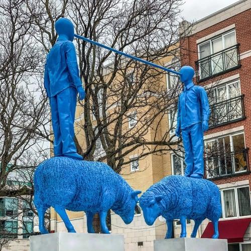 Public Sculptures by Patrick Bérubé seen at ByWard Market, Ottawa - Our Shepherds