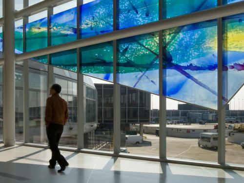 Murals by Guy Kemper seen at O'Hare International Airport - Terminal 1 Departures, Chicago - Jet Trails blown glass