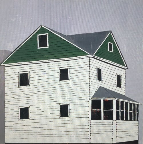 Paintings by Scott Redden seen at Private Residence, West Palm Beach - 'Lone Green House' and 'House Green White' original oil paintings by Scott Redden