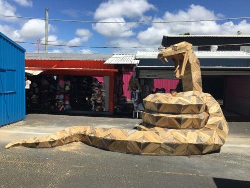 Public Sculptures by Thomas Dambo seen at Carrara Markets, Carrara - Rob the Snake