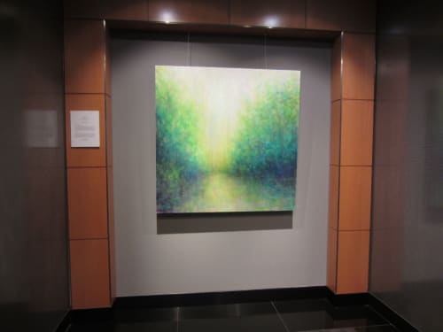 """Paintings by Victoria Veedell seen at Union Bank, San Francisco - Garden Light, oil on canvas, 48"""" x 48"""""""