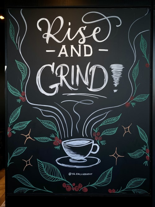 Signage by YQ Design seen at Starbucks, Queens - Rise and Grind