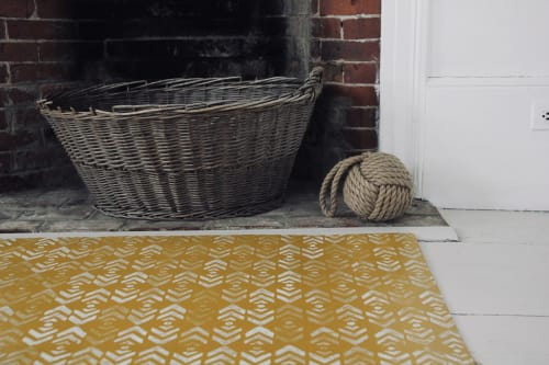 Rugs by Addie Peet Design seen at Private Residence - Hand painted canvas floorcloth rug