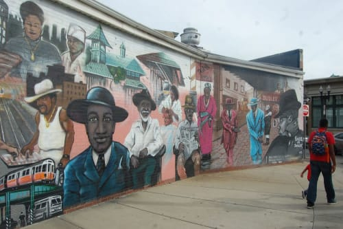 "Street Murals by Hops Art BKLYN seen at 2385 Washington St, Boston - ""Faces of Dudley"" mural"