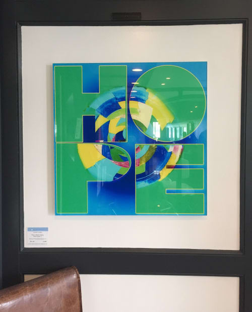 Art & Wall Decor by Joanie Landau seen at Pearl Restaurant & Bar, Westport - Ode to Robert Indiana: Hope Version 1