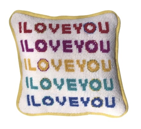 Pillows by Mommani Threads seen at The Scout Guide Charlotte, Charlotte - original needlepoint I LOVE YOU feather down pillow