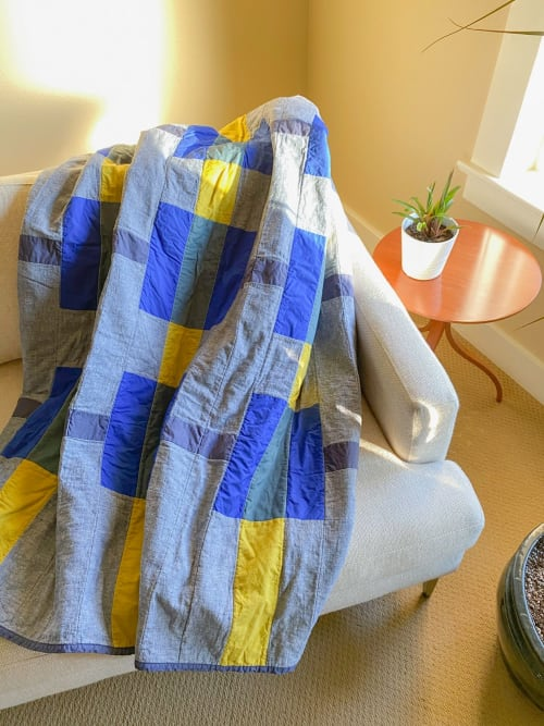 Linens & Bedding by Studio Prismatic seen at Creator's Studio, Portland - Warp & Weft Quilt in Denim Blue Hemp & Organic Cotton