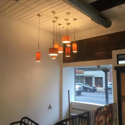 Pendants by CP Lighting seen at Roots Natural Kitchen, Pittsburgh - WoodShade Pendants