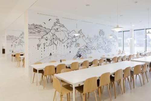 "Murals by Tami Hopf seen at Hrc - Hôpital Riviera-Chablais, Rennaz - ""Make the walls speak"" Mural"